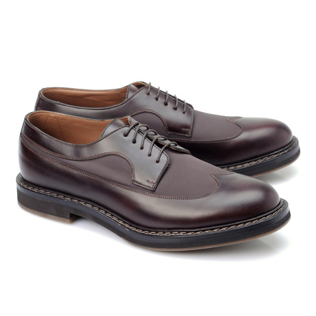 Leather + Canvas Contrast Stitch Derby // Burgundy (Euro: 39)
