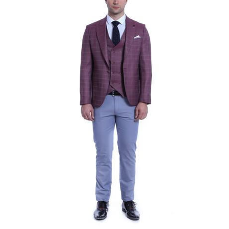 Blaze 3 Piece Slim-Fit Suit // Burgundy (Euro: 44)