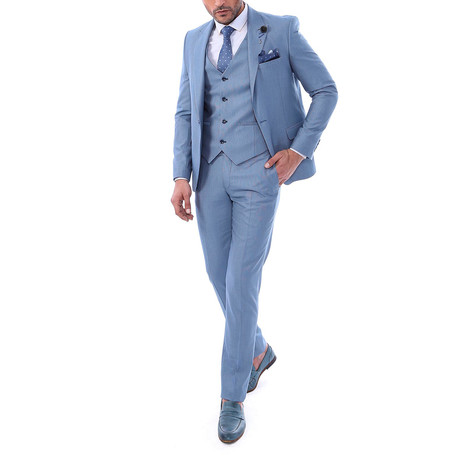 Rhys 3-Piece Slim Fit Suit // Light Blue (US: 34R)