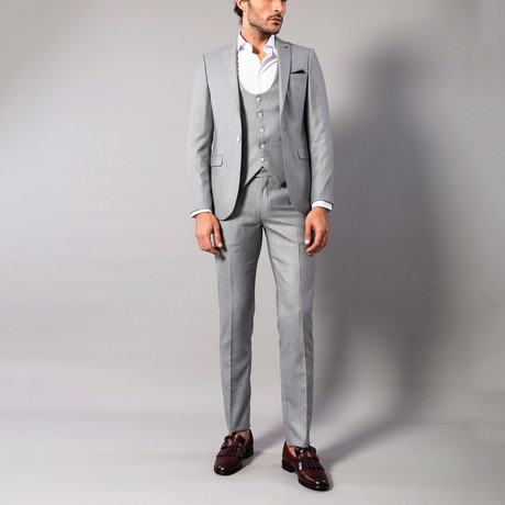 Nixon 3-Piece Slim Fit Suit // Gray (US: 34R)