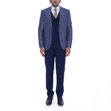 Titus 3 Piece Slim Fit Suit // Navy (Euro: 54)