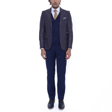 Kaci 3-Piece Slim Fit Suit // Brown (Euro: 42)