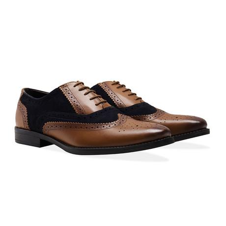 Oxford Brogue Shoe // Navy + Tan (UK 7)
