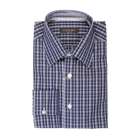 Patterned Slim Fit Shirt // Blue (XS)