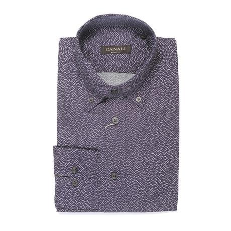Patterned Slim Fit Shirt // Purple (Euro: 39)