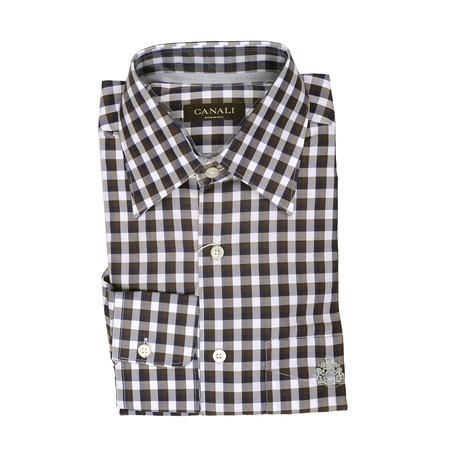 Plaid Modern Fit Shirt // Brown + White (S)