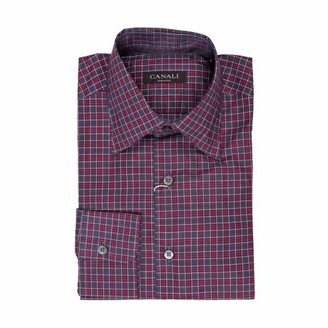 Plaid Regular Fit Shirt // Burgundy (S)