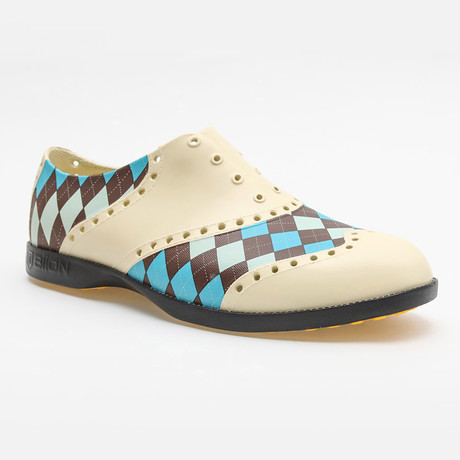 Patterns Argyle Oxford // Off-White + Brown + Blue (US: 7)