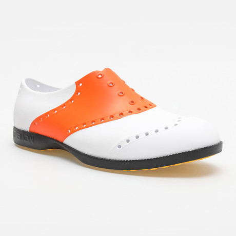 Saddles Oxford // White + Orange (US: 7)