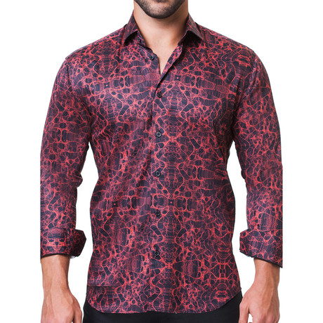 Fibonacci Motif Dress Shirt // Red (S)