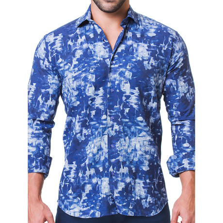 Fibonacci Paint Dress Shirt // Blue (S)