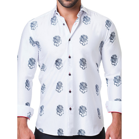 Fibonacci Head Sketch Dress Shirt // White (S)