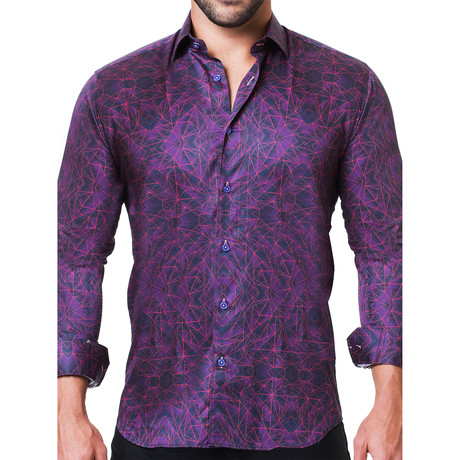 Fibonacci Tunnel Dress Shirt // Purple (S)