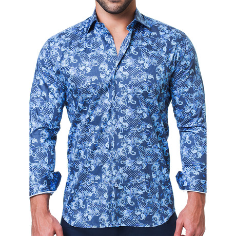 Fibonacci Victorian Dress Shirt // Blue (S)