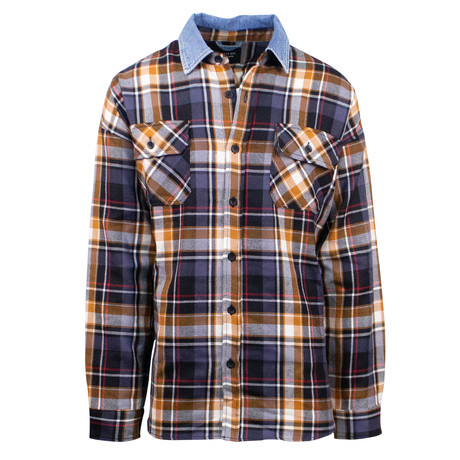 Fear Of God // Purple Plaid Oversized Denim Collared Flannel Shirt // Purple (L)