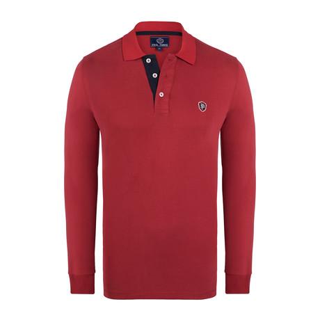 Logo Long Sleeve Polo Shirt // Red (XS)
