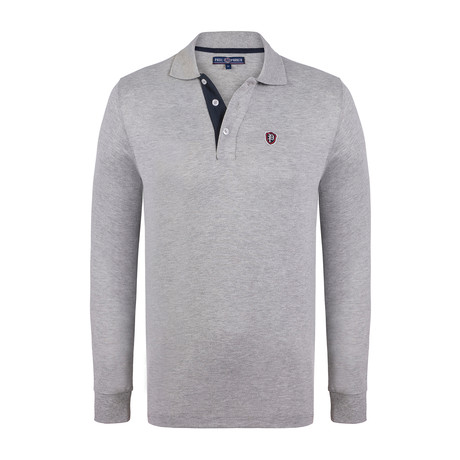 Logo Long Sleeve Polo Shirt // Grey Melange (XS)