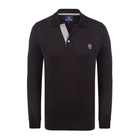 Logo Long Sleeve Polo Shirt // Black (XS)