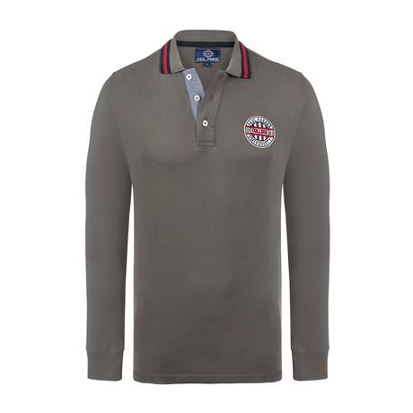 University Long Sleeve Polo Shirt // Army Green (XS)