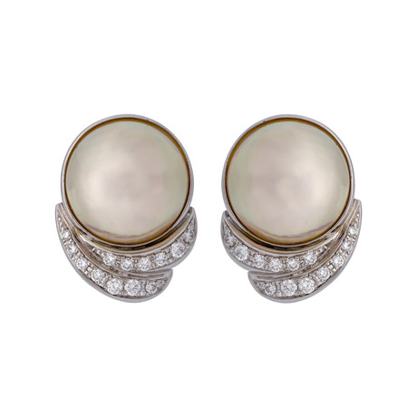 Vintage Tasaki Platinum Pearl Diamond Earrings // Clip-On