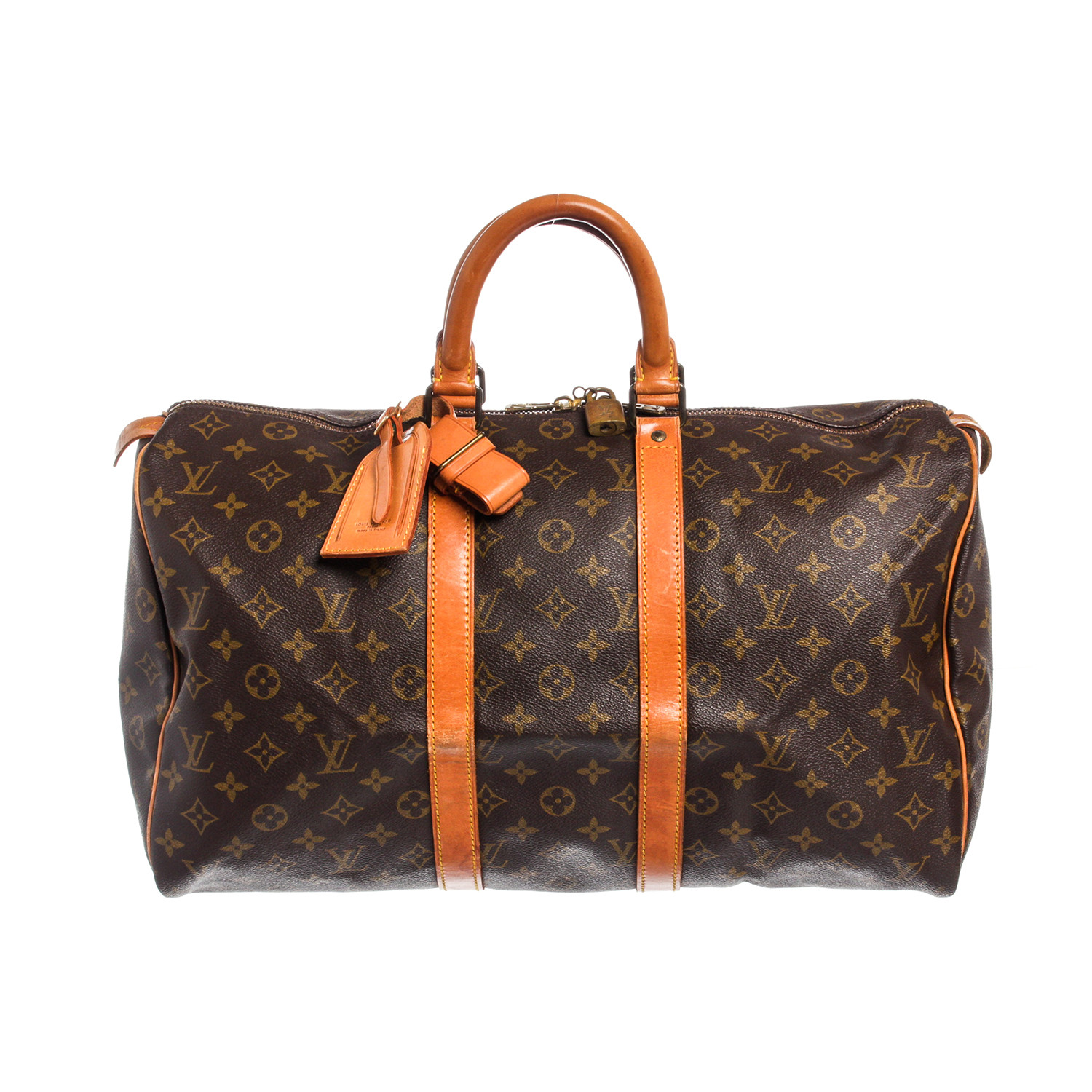 Monogram Canvas Leather Keepall 45 cm Duffle Bag Luggage    Pre-Owned    05632979d3441