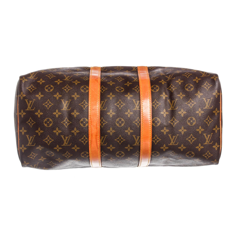 bc240946f1fbc Monogram Canvas Leather Keepall 45 cm Duffle Bag Luggage    Pre-Owned