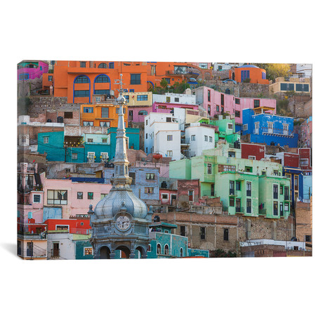 "Vibrantly Colored Architecture, Guanajuato, Mexico // Don Paulson (26""W x 18""H x 0.75""D)"