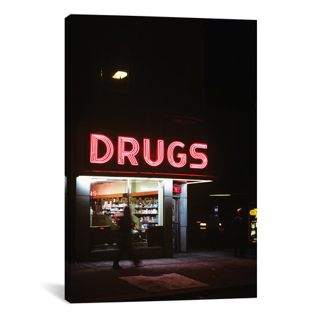 "1980s Drug Store At Night Pink Neon Sign Drugs // Vintage Images (12""W x 18""H x 0.75""D)"