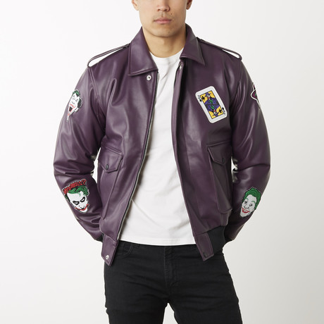 Joker Leather Bomber Jacket // Purple (L)