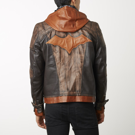 Batman Weathered Leather Jacket // Brown (XS)