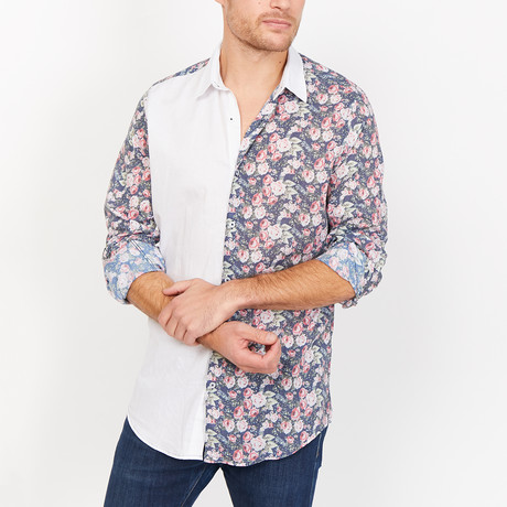 St. Lynn // Jake Button Up // White + Multicolor (Small)