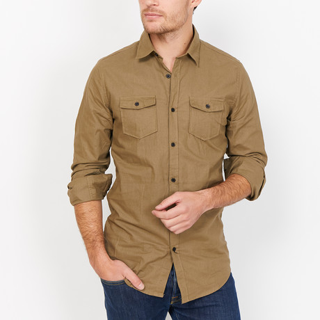 St. Lynn // Monte Button Up // Khaki (Large)