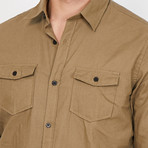 Theo Button Up // Khaki (X-Large)