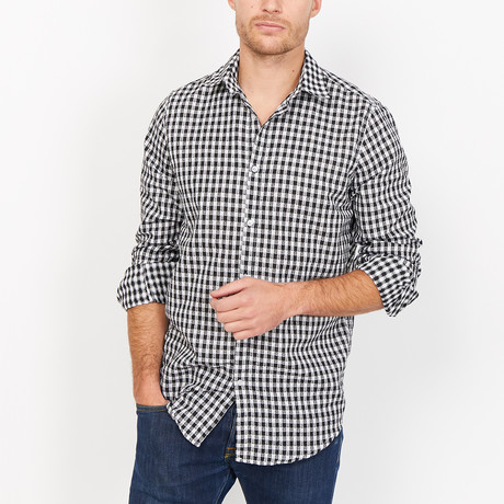 Baptise Button Up // Black-Blue + White Check (Large)