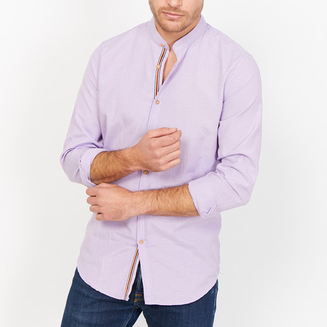 Theodore Martin Collar Button Up // Purple (X-Large)