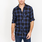 St. Lynn // Alec Button Up // Blue + Navy (Small)