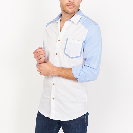 Luca Button Up // White + Blue (Small)