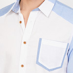 Luca Button Up // White + Blue (XX-Large)