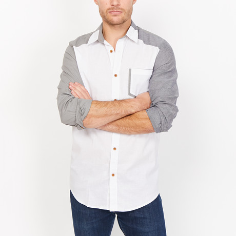 St. Lynn // Troy Button Up // White + Gray (Small)