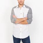 Lorenzo Button Up // White + Gray (XX-Large)