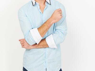 Photo of St. Lynn Organic Cotton Button Ups Leonardo Button Up // Light Blue (Small) by Touch Of Modern