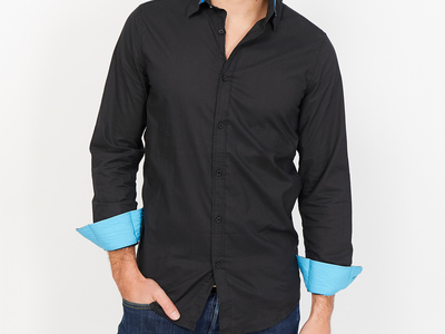 Photo of St. Lynn Organic Cotton Button Ups Giuseppe Button Up // Black (Small) by Touch Of Modern