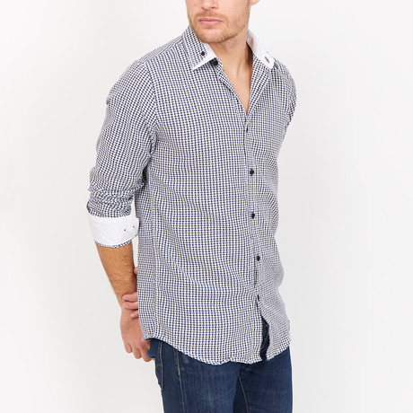 St. Lynn // Jackson Checkered Button Up // Dark Blue (Small)