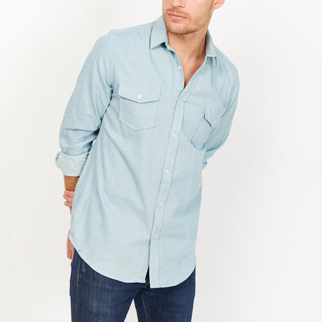 St. Lynn // Patrick Button Up // Denim Blue (Small)