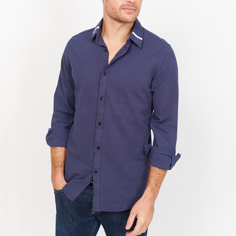 St. Lynn // Saul Button Up // Navy (Large)