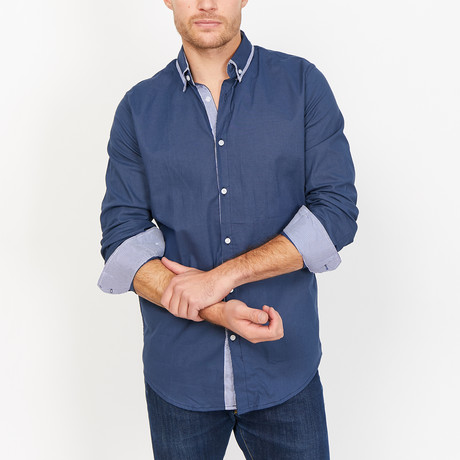 Christian Button Up // Slate Blue (Small)