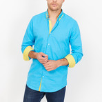 Emanuele Button Up // Turquoise + Yellow (Large)
