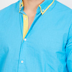 Emanuele Button Up // Turquoise + Yellow (XX-Large)