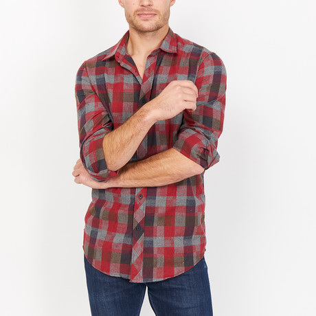 Miguel Checkered Button Up // Red + Brown + Gray (Small)