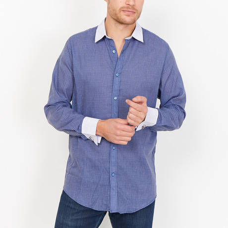 Samuel French Cuff Button Up // Blue + White (Small)